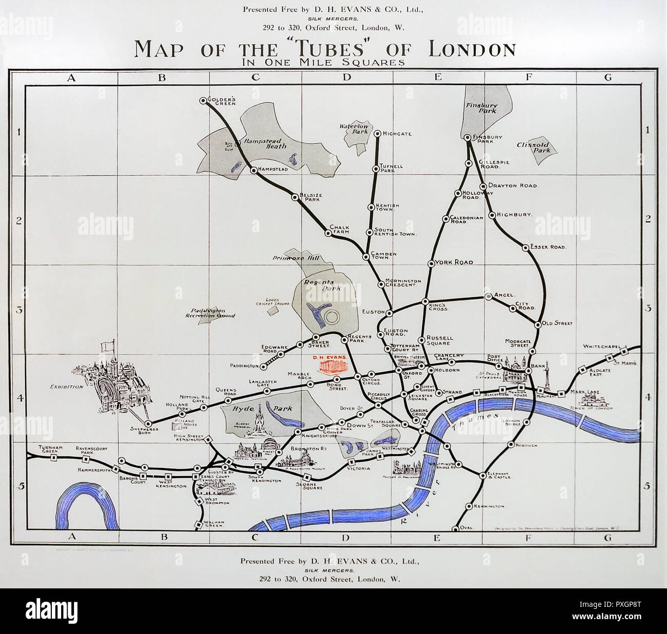 'Map of the Tubes of London' 1907. - Stock Image