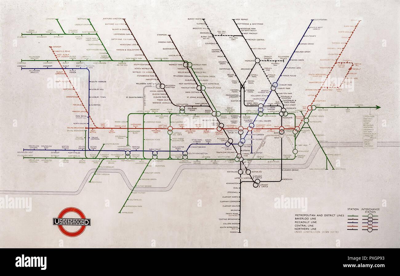 1948 Harry Beck London Underground Tube map. - Stock Image