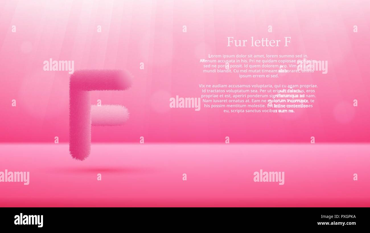 product display or advertising concept template vector illustration of fur letter f over french rose color gradient studio room background