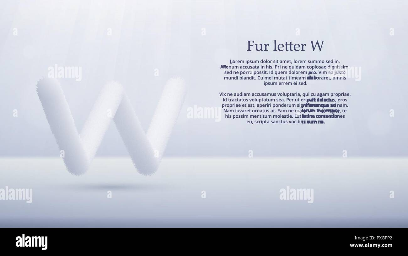 Product display or advertising concept template. Vector illustration of fur letter W over white color gradient studio room background for your design - Stock Vector