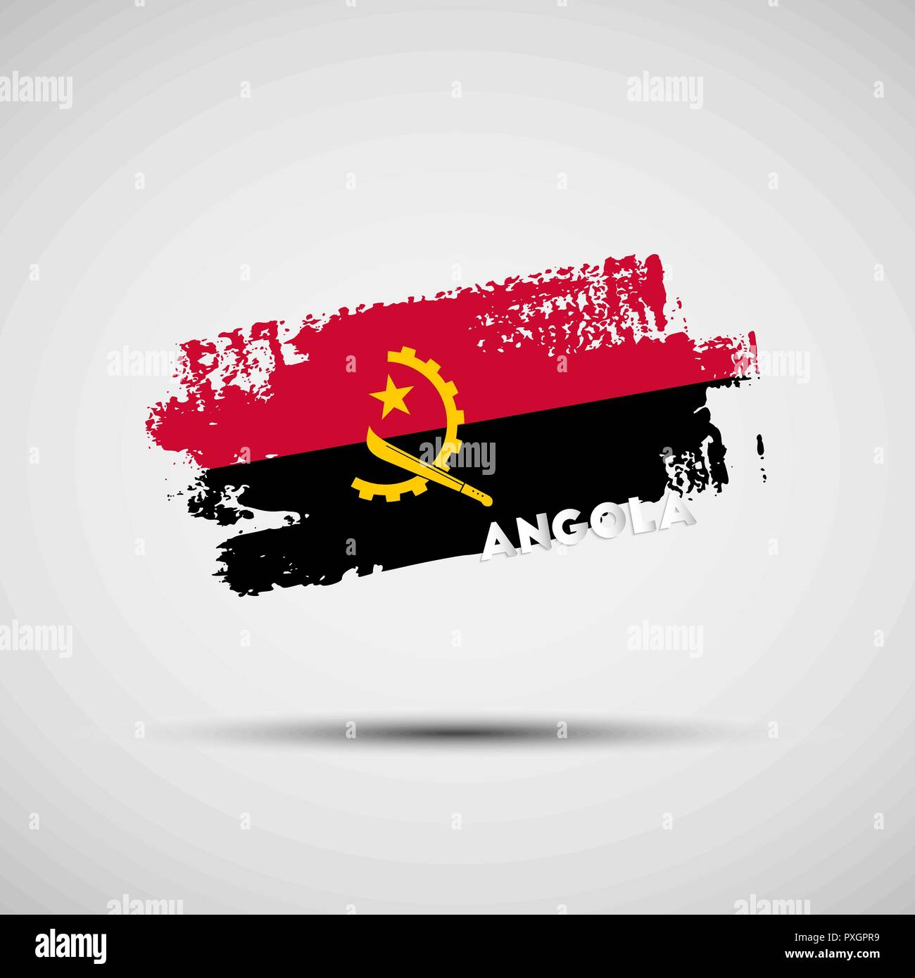 Flag of Angola. Vector illustration of grunge brush stroke with Angolan national flag colors for your graphic and web design - Stock Vector