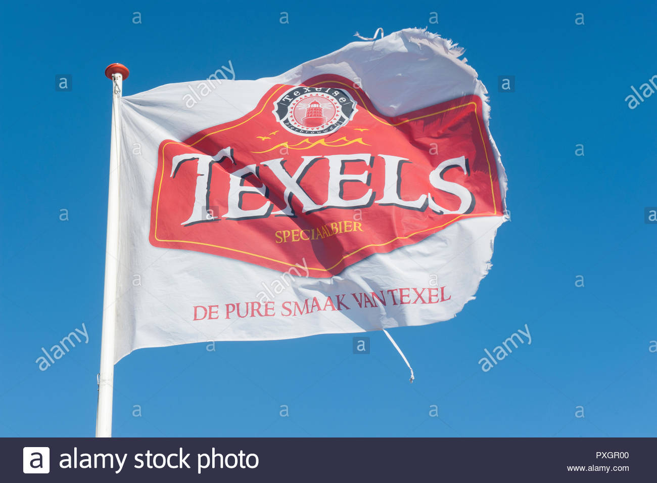 Egmond aan Zee Noord Holland The Netherlands.  Texels Brewery flag (image flipped.) Stock Photo