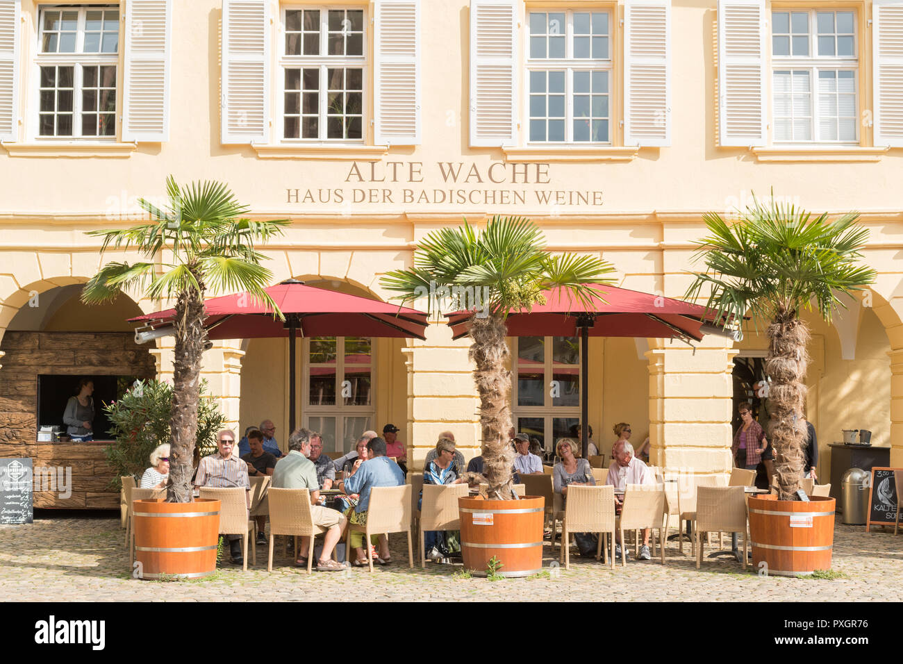 Alte Wache - house of baden wines - Freiburg im Breisgau, Cathedral Square, Germany - Stock Image