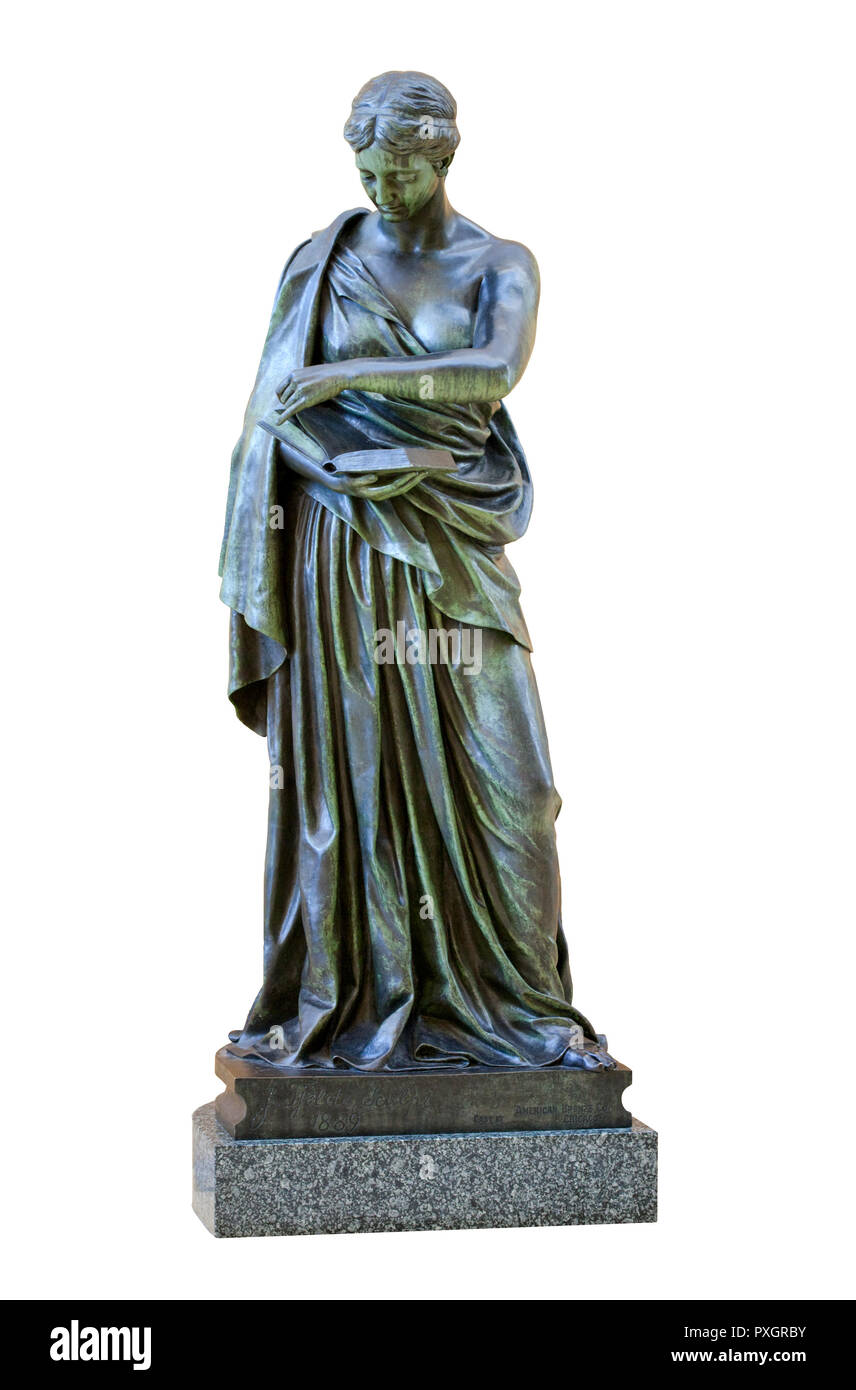 The 1889 bronze statue of Minerva by sculptor Jacob H. Fjelde (1855 - 1896) in the Hennepin County Central Library, Minneapolis – The sculpture was ca - Stock Image