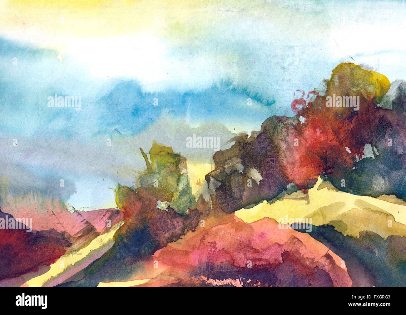 Watercolor Painting Colorful Landscape Spring Summer