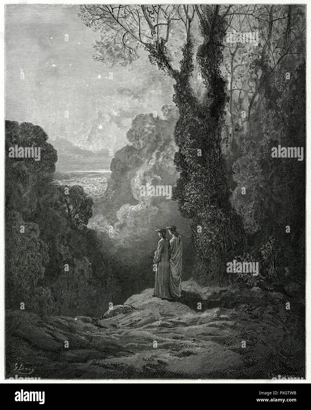 Dante and Virgil emerge from infernal regions just before dawn and are greeted by the radiant constellation of Venus in the night sky.      Date: First published: 1307-21? - Stock Image