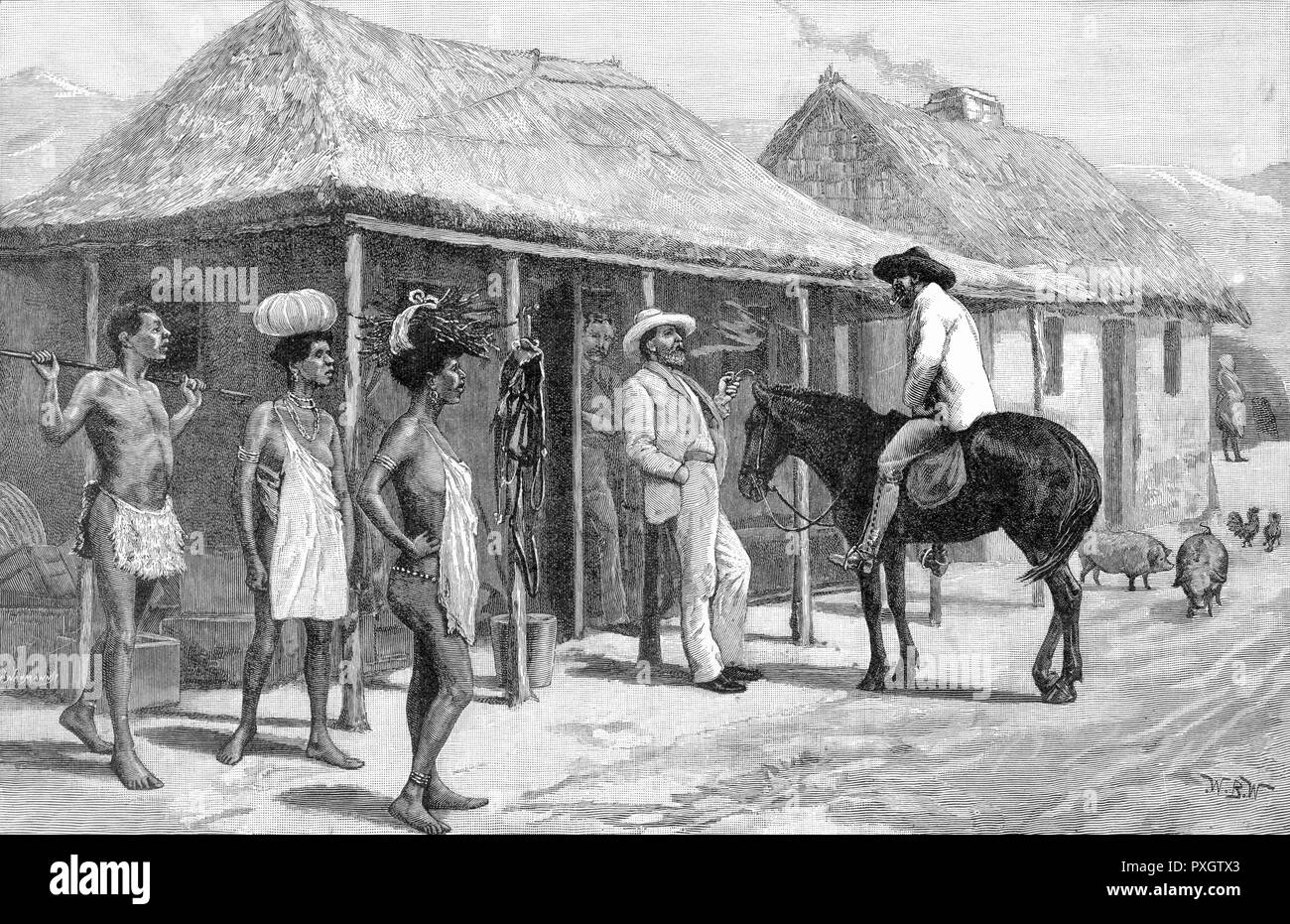 Traders and natives meet outside a store in Swaziland, south-east Africa       Date: 1889 - Stock Image