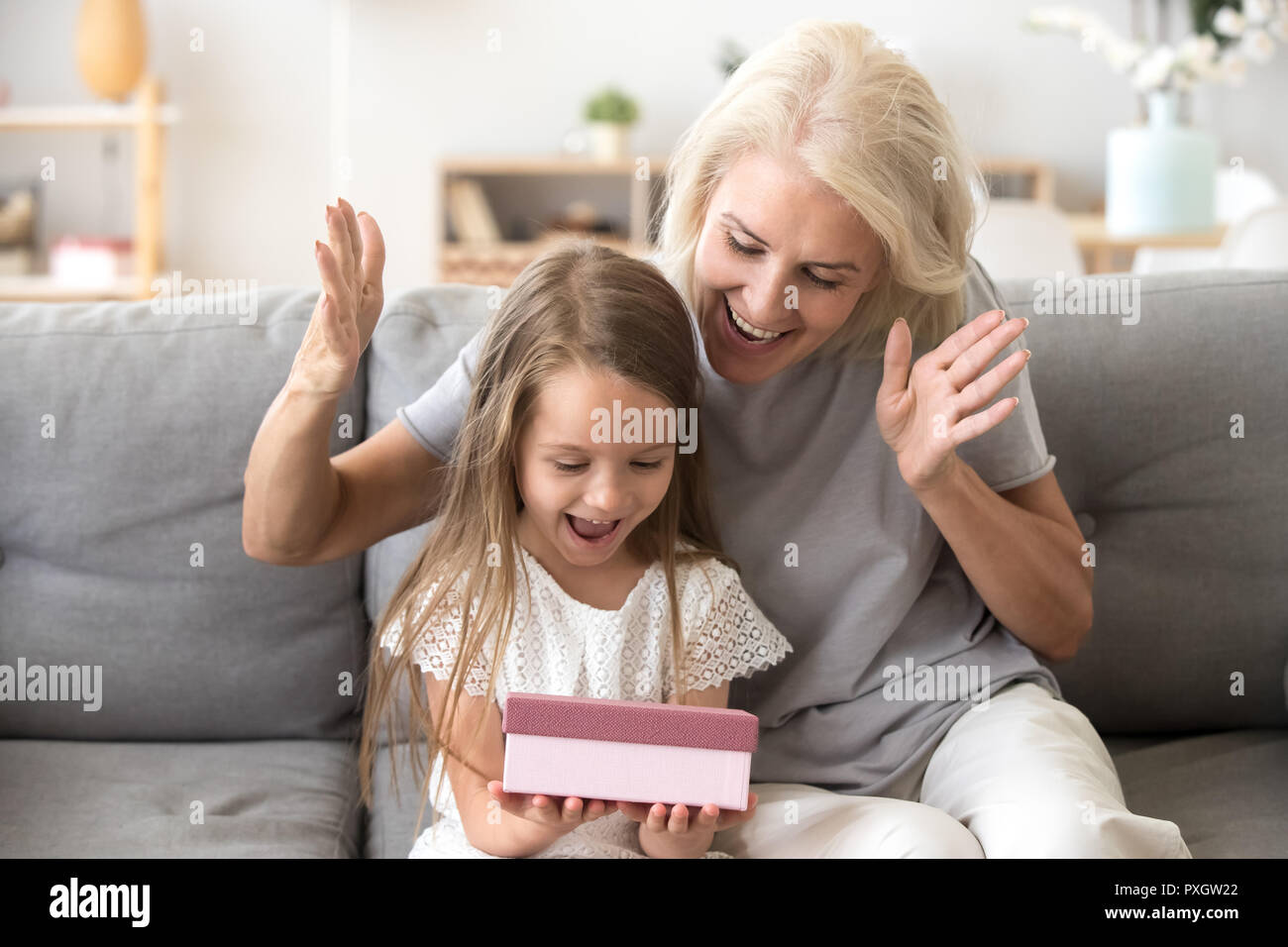 Grandmother Present Excited Little Granddaughter Birthday Gift