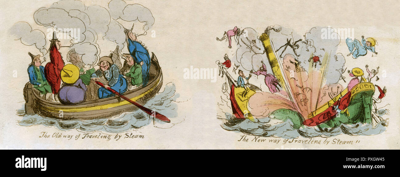 An early steamship, which like a giant kettle has built up too much pressure and exploded throwing its unwitting passengers overboard. The rowing boat appears safer.     Date: circa 1830 - Stock Image