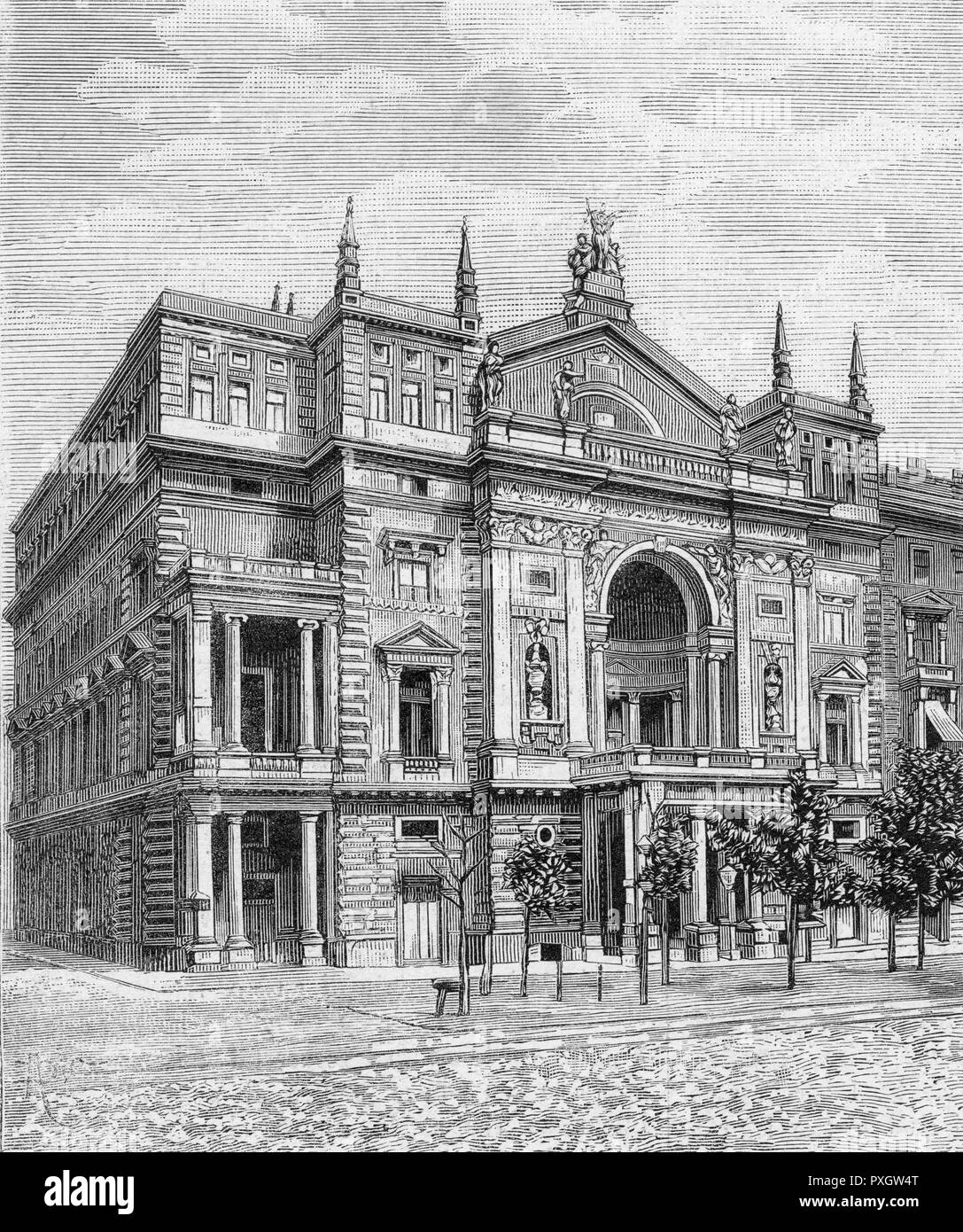 The Ring-Theatre, Vienna (before destruction in a fire).       Date: 1882 - Stock Image