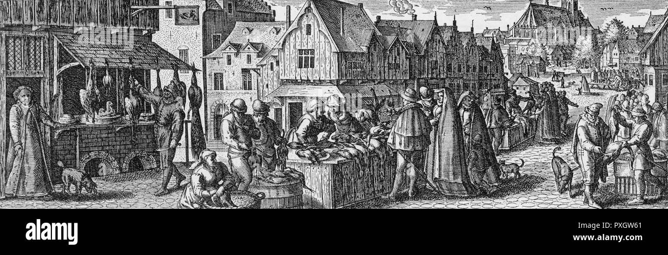 A Flemish Poultry Market.        Date: circa 1600 - Stock Image