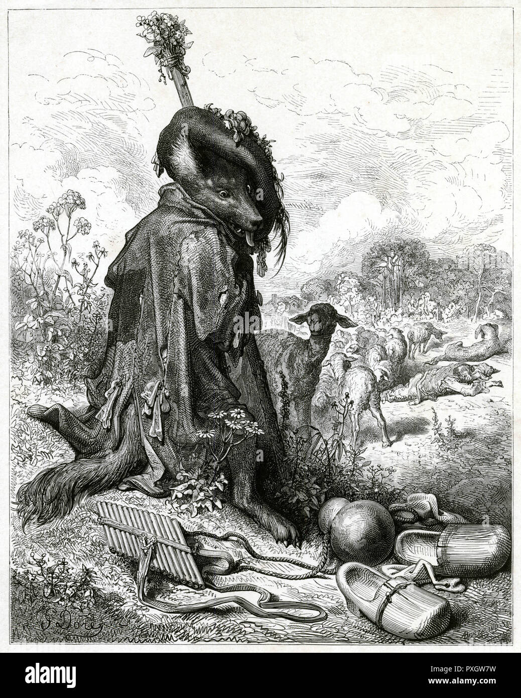 'THE WOLF AS SHEPHERD' One of Dore's finest illust- -rations, simply taken at face value, and at the same time a powerful allegory of brute force hiding its brutality. - Stock Image