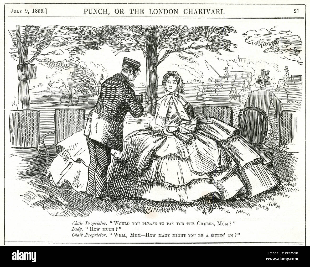 A disgruntled looking woman wearing an enormous crinoline is asked by the chair proprietor how many chairs she is sitting on so that he can calculate her bill.     Date: 1859 - Stock Image