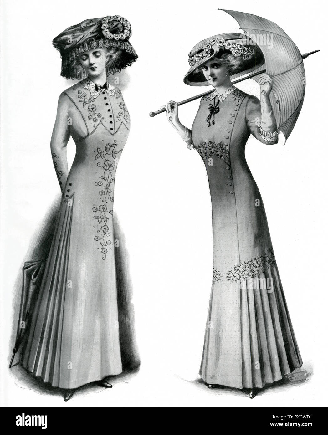 Two women's summer fashion, model on left; coloured linen embroidered with floss silk in the same shade, shady hat is of black lace over white, with white roses. Model on the right; natural tussore  dress, braided to match, with lawn collar and cuffs.     Date: 1909 Stock Photo