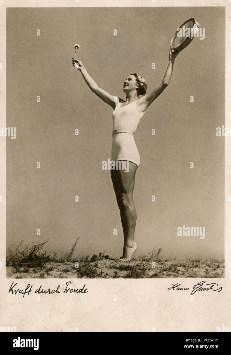 Kraft durch Freude (German for Strength through Joy, abbreviated KdF) was a large state-operated leisure organization in Nazi Germany. It was a part of the German Labour Front (Deutsche Arbeitsfront, DAF), the national German labour organization at that time.     Date: circa 1938 - Stock Image