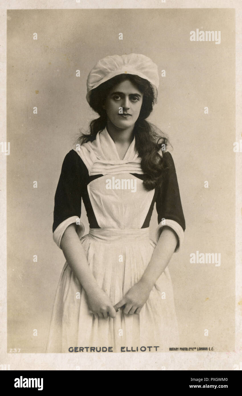 Actress Miss Gertrude Elliott (1874-1950), later wife of Sir Johnston Forbes-Robertson in the role of housemaid Peggy in 'Mice and Men'.     Date: 1902 - Stock Image