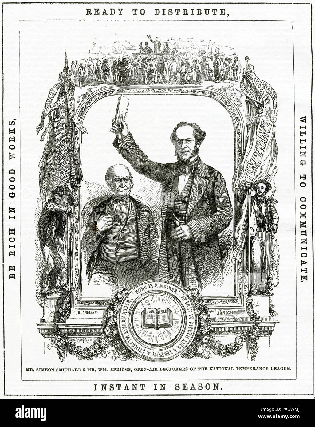 Christian men, Mr. Simeon Smithard and Mr. William Spriggs, open-air lecturers of the National Temperance League to the populous districts of London, reciting words from the Gospels.     Date: 1858 - Stock Image
