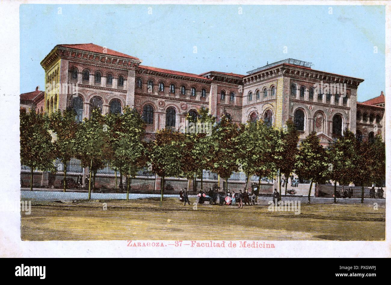 Zaragoza, Spain - Medical College (Facultad de medicina).     Date: circa 1905 Stock Photo
