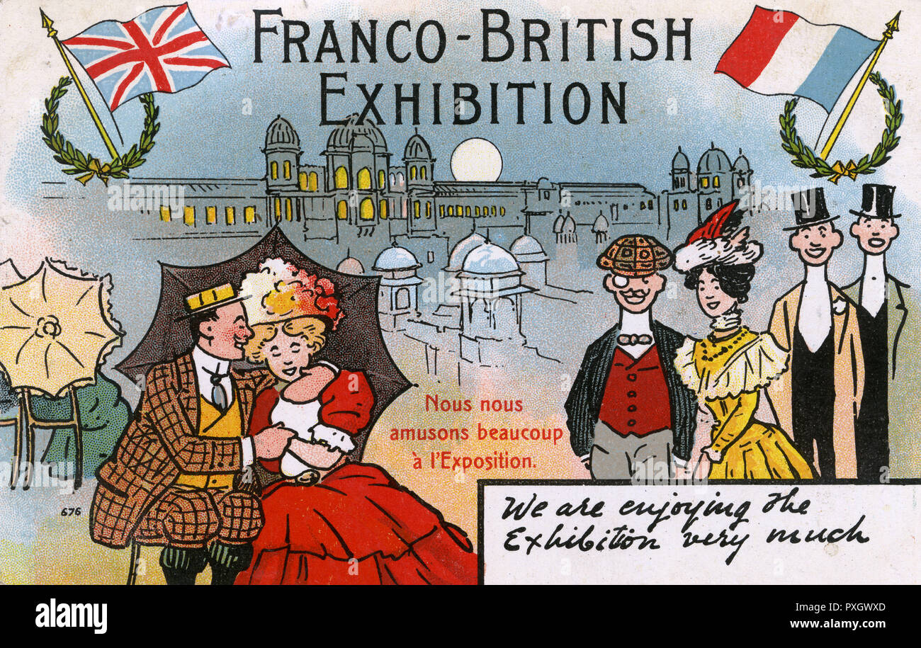 """British Comic Postcard - Franco-British Exhibition of 1908 at White City (in West London near Shepherd's Bush) - """"We are Enjoying the Exhibition"""" (written in French and English!).     Date: 1908 - Stock Image"""