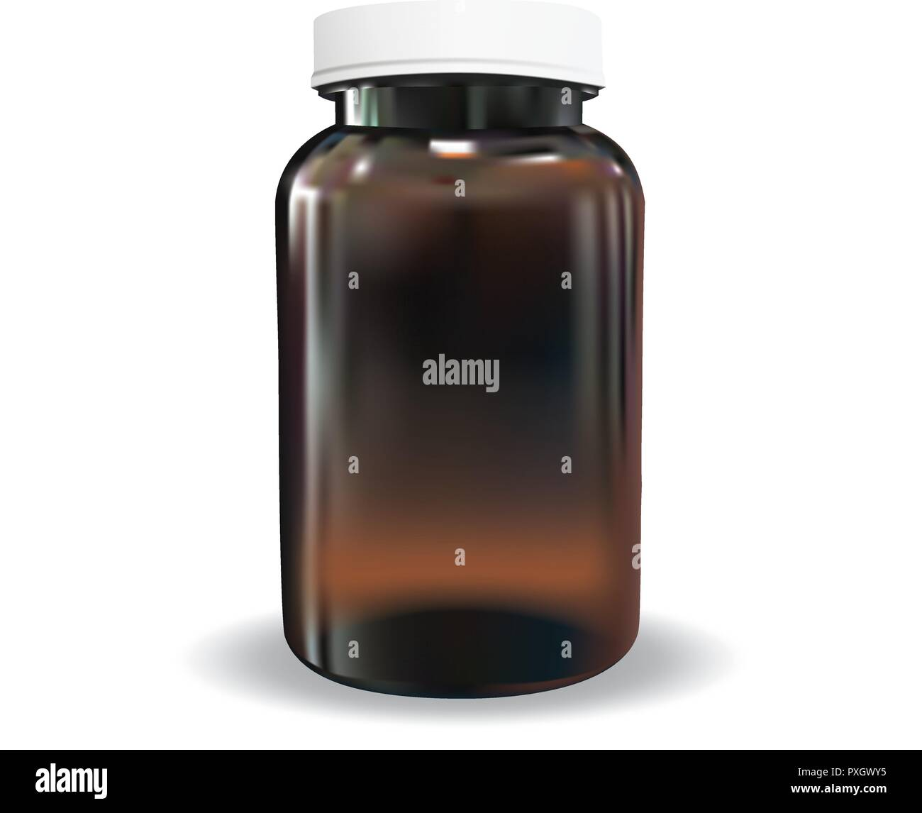 Vector brown amber bottle with white plastic cap - Stock Image