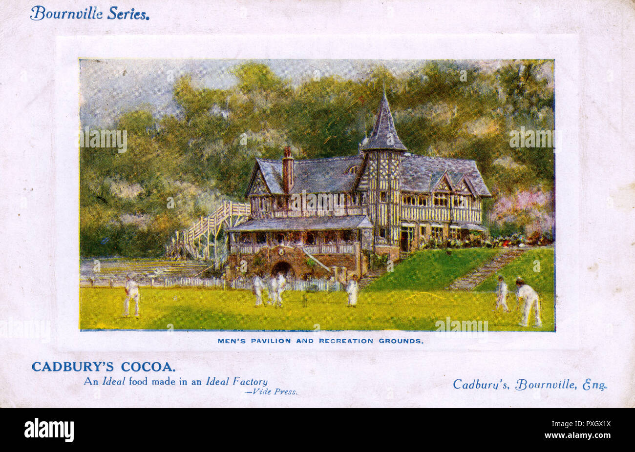 Men's Pavilion & Recreation Grounds, Bournville, Birmingham, England - part of the model community set up around the Cadbury's Cocoa Factory. Cricket being played at the Cadbury Sports Club.     Date: 1910 - Stock Image
