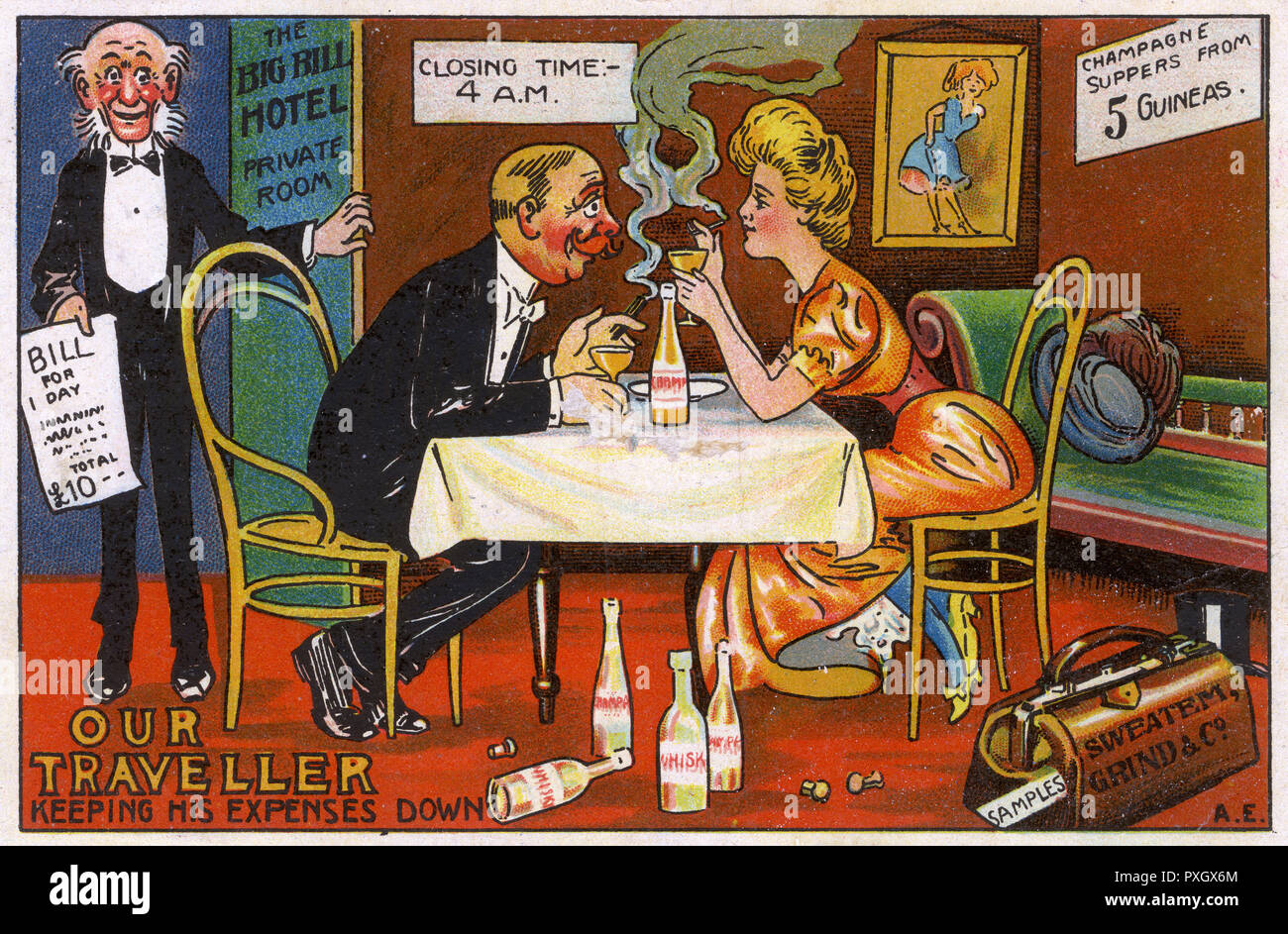 A travelling Salesman (for 'Sweatem, Grand & Co.) is spectacularly failing to keep his expenses down! He is piling through the whiskey, occupying a private room, wining and dining a pretty girl and partaking of a Champagne supper. The waiter is now arriving with the bill...     Date: 1910 - Stock Image