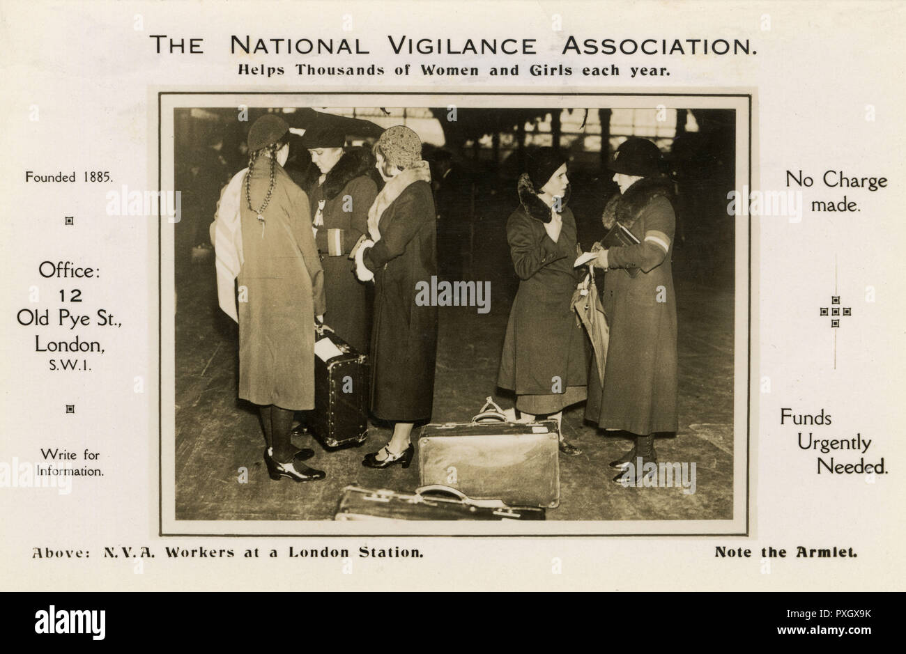 "The National Vigilance Association - NVA Workers at work at a London Railway Station. The NVA was a society established in August 1885 ""for the enforcement and improvement of the laws for the repression of criminal vice and public immorality"" as the result of articles exposing child prostitution published by W. T. Stead in the Pall Mall Gazette.     Date: 1930s - Stock Image"