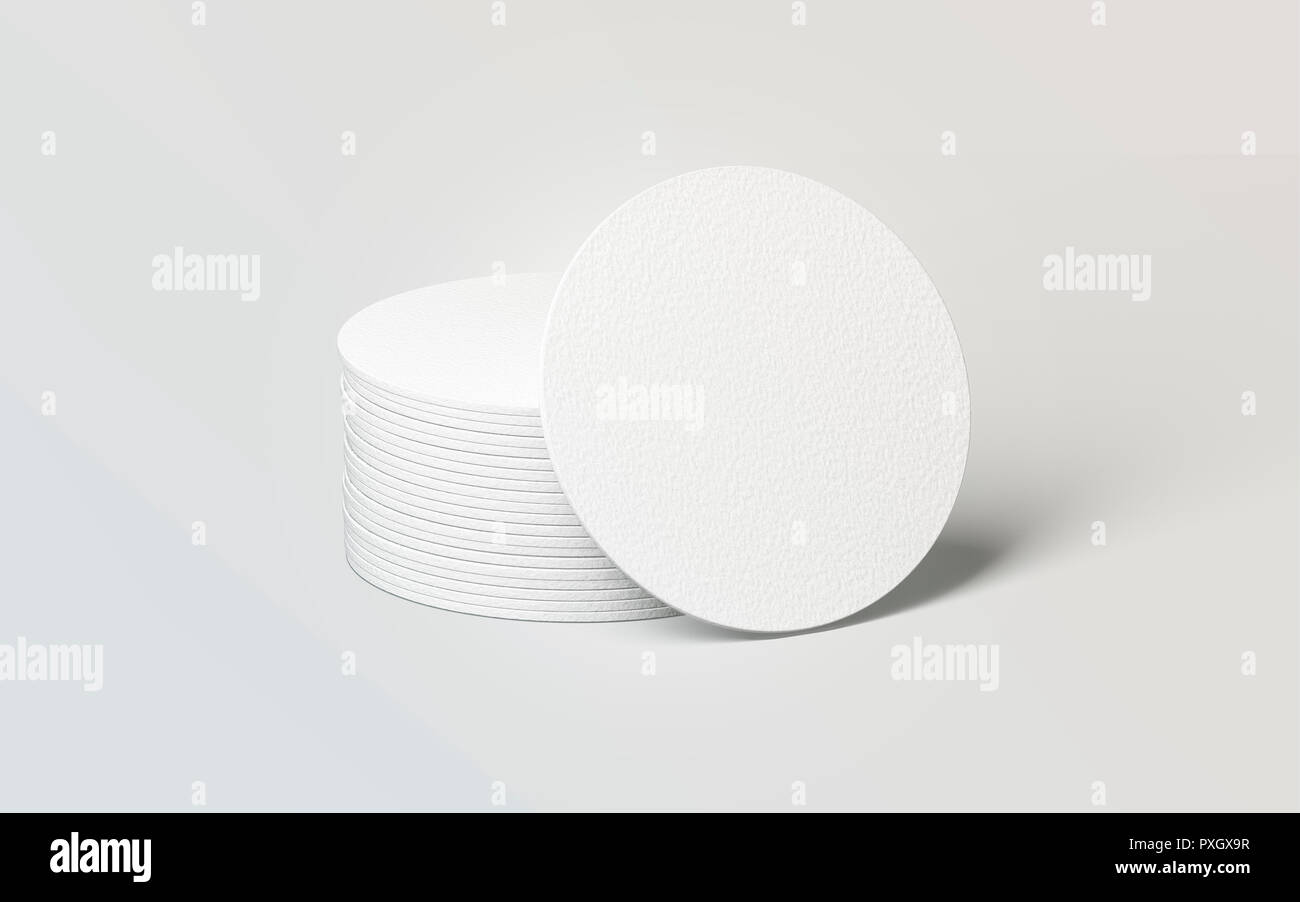 Blank white round beer coasters stack mockup, 3d rendering. Empty circle mat for drink mock up. Clear coster pedestal for can or bottle. Pile of rug for beverage template. Stock Photo