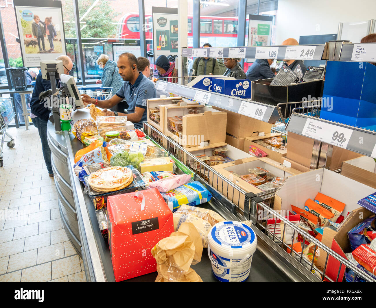 Checkout at Lidl supermarket, UK, London - Stock Image
