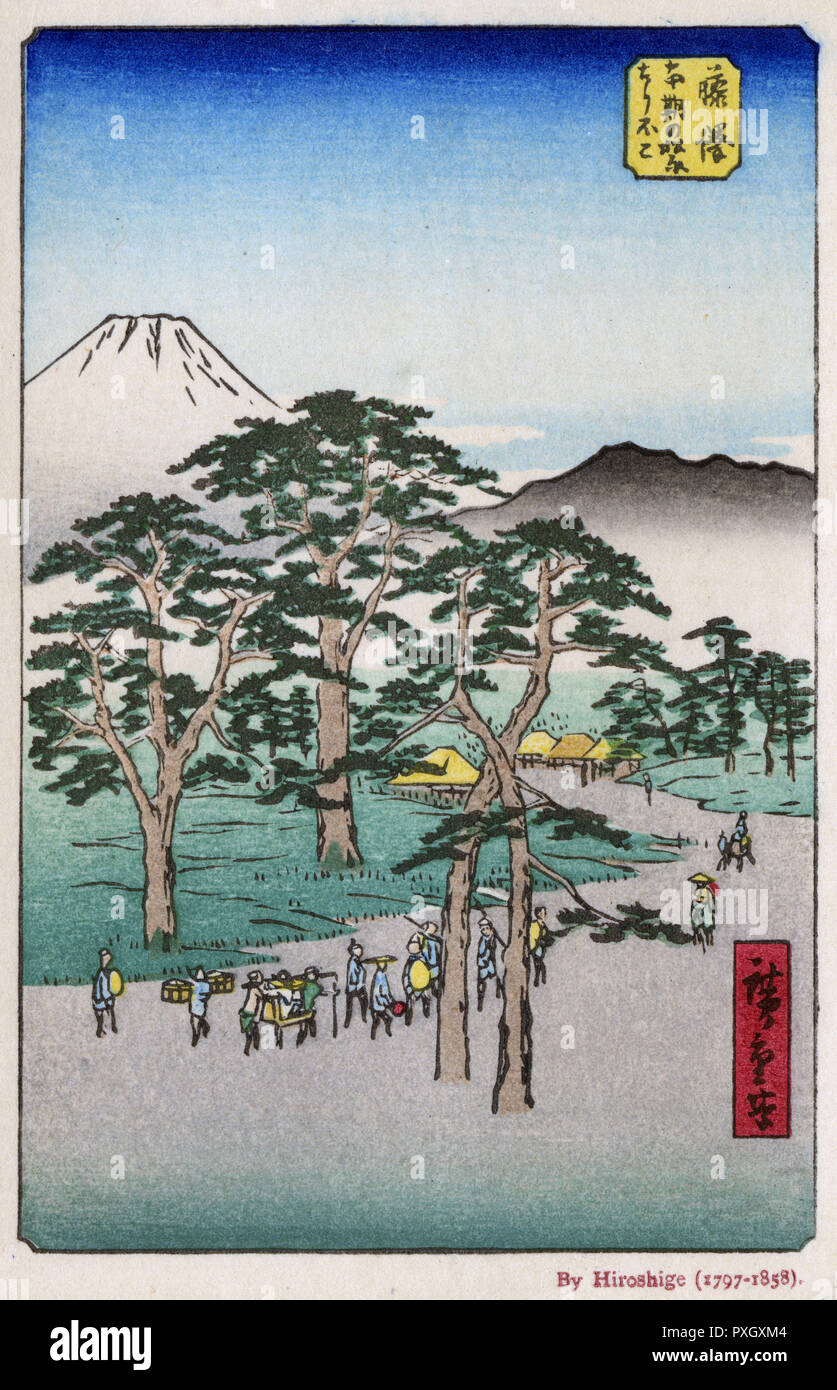 The Road to a village through the trees with mount Fuji in the distance by Utagawa Hiroshige (1797-1858)     Date: circa 1850s - Stock Image
