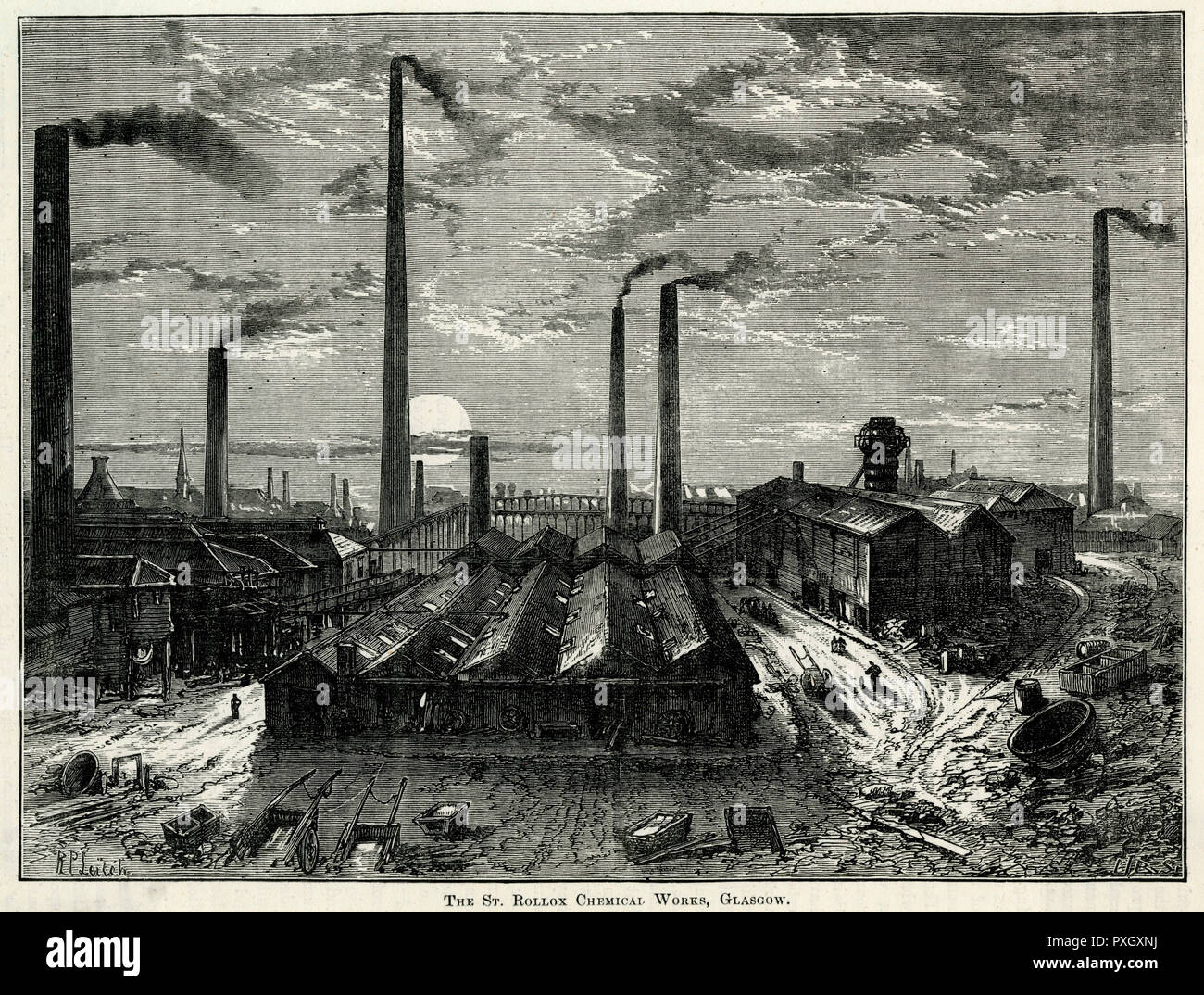 St. Rollox Chemical Works in Glasgow, making dry bleaching powder which was sold world wide and grew to be the worlds largest chemical Works. Showing the exterior of the factory covering 50 acres by the River Clyde, with its 450 feet chimneys known as Tennant's Stalk, coursing atmospheric pollution.     Date: 1830s - Stock Image