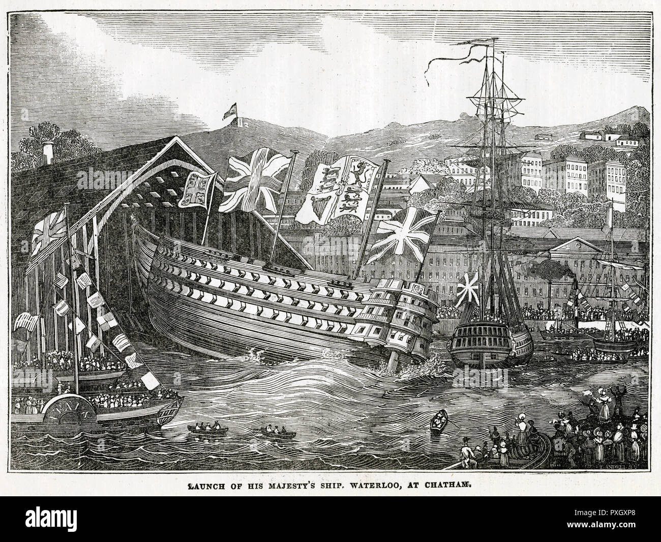 Launch of His Majesty's ship, HMS Waterloo at Chatham in 1833. HMS Waterloo  was a 120-gun first-rate ship of the line of the Royal Navy. Date: 10 June  1833