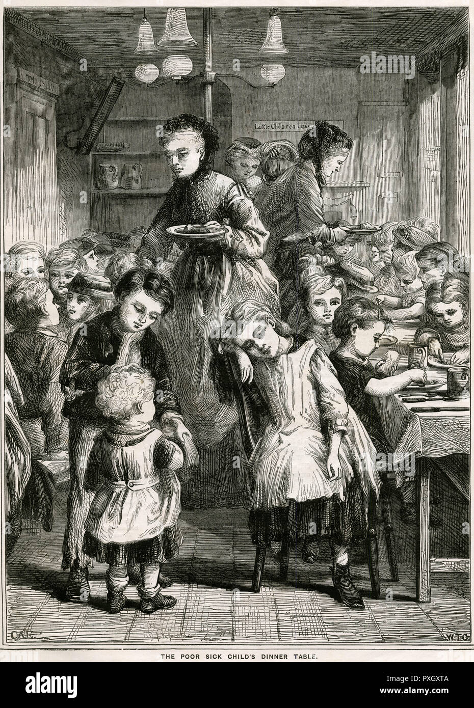Thousands of children in London were not receiving nutritious foods, many poor youngsters were not getting warm dinners during the winter months, bread formed a chief amount of their diets. Many children became sick and weary and frequently died a premature death. 'Children's Dinners, a Christian charity was set up, found in localities inhabited by poor and needy, one of theses establishments was at Wolburn Buildings, near St. Pancras Church, London. Dinners like roast meat and potatoes with an orange or a piece of cake for dessert were provided all year round for every child who brought a tic - Stock Image