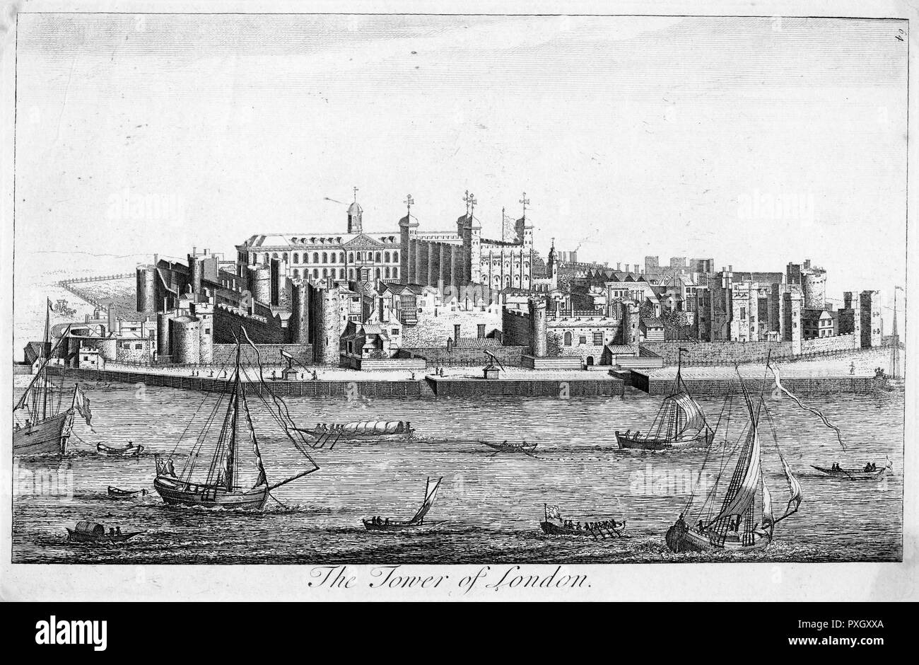 The Tower of London, early 18th century     Date: Early 18th century - Stock Image