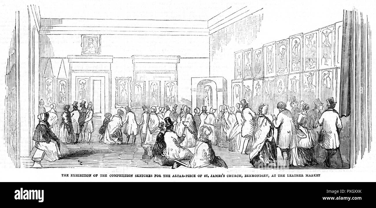 The exhibition of the competition sketches for the altar-piece of St James's Church, Bermondsey, at the Leather Market, 1845.     Date: 1845 - Stock Image