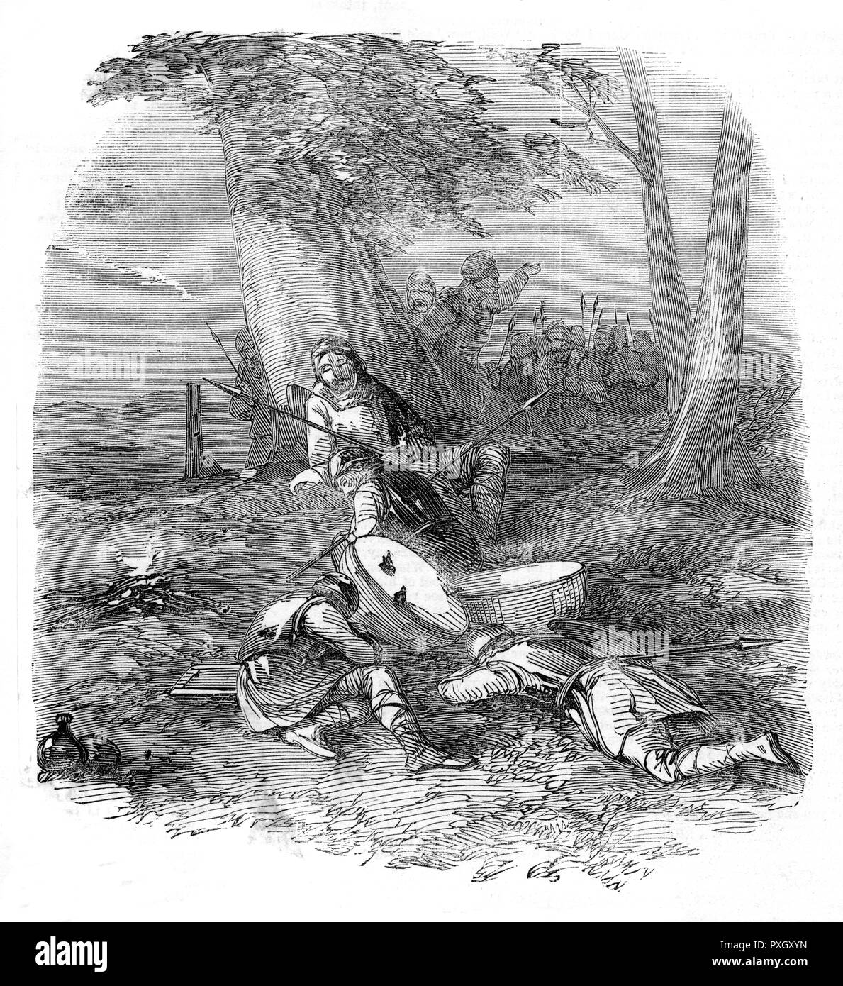The origin of Hunting the Wren - The Bird awakens the sleeping Danes.     Date: 1850 - Stock Image