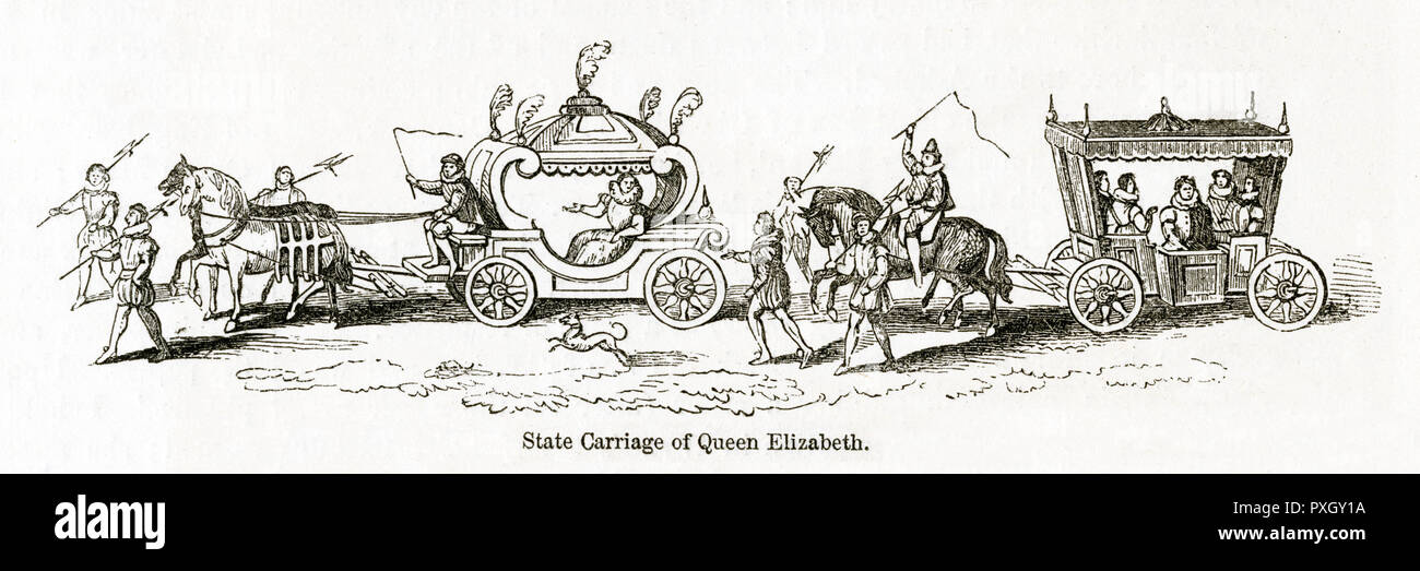 State Carriage of Queen Elizabeth I.     Date: circa 16th century Stock Photo