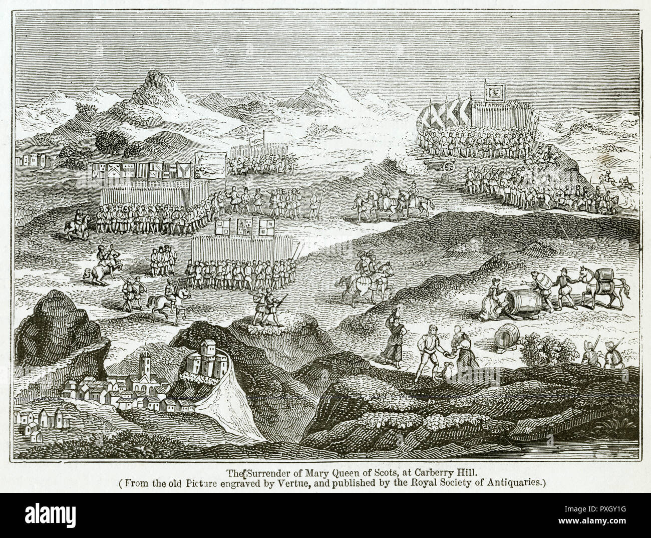 Battle of Carberry Hill, near Musselburgh, East Lothian, a few miles east of Edinburgh, Scotland. A number of Scottish lords objected to the rule of Mary, Queen of Scots after she had married the Earl of Bothwell, who was widely believed to have murdered her previous husband Lord Darnley.     Date: 15 June 1567 - Stock Image