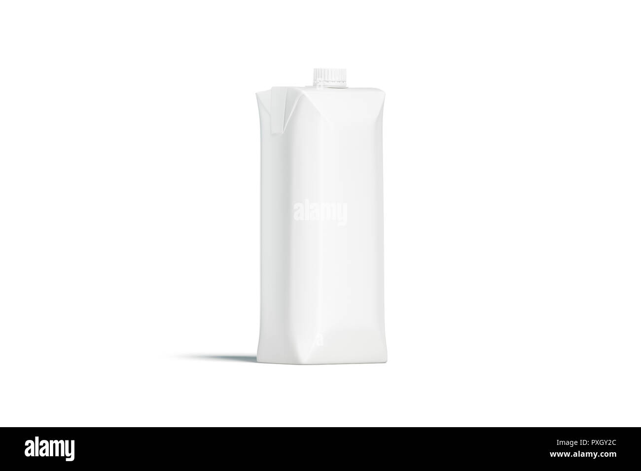 Blank white prisma juice pack with lid mockup, isolated, front view, 3d rendering. Empty aseptic pack with cap mock up. Clear carton container for drink template. - Stock Image