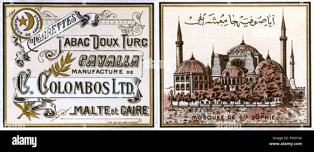 Early Egyptian Cigarette Packet - Front and Back (combined) - manufactured by C Colombos Ltd. of Malta and Cairo using Turkish Tobacco. The reverse image is of the Ayasofya Mosque in Istanbul.     Date: circa 1890 - Stock Image