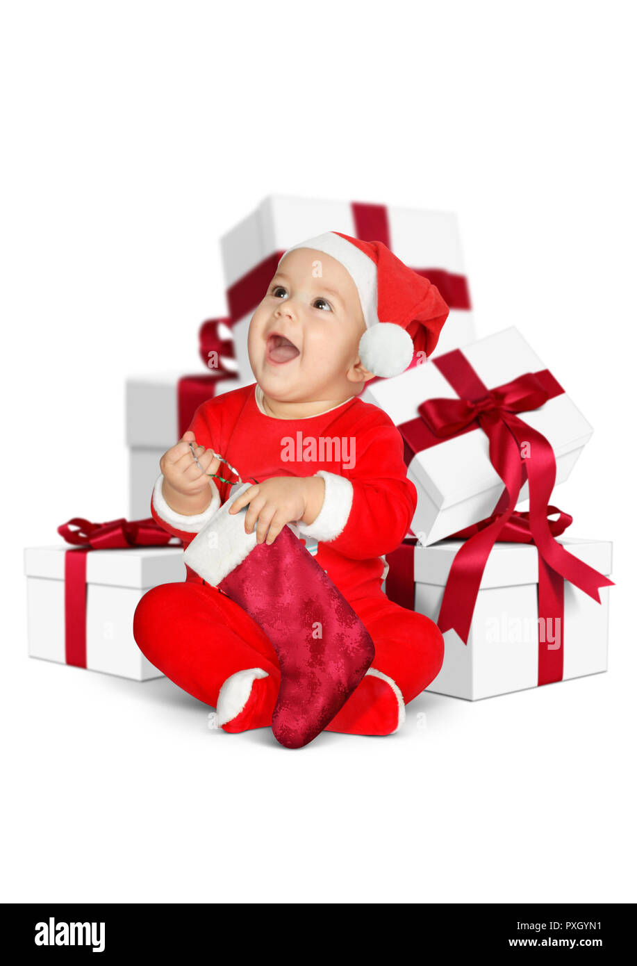 Funny baby Santa Claus with Christmas gifts isolated on white Stock ...