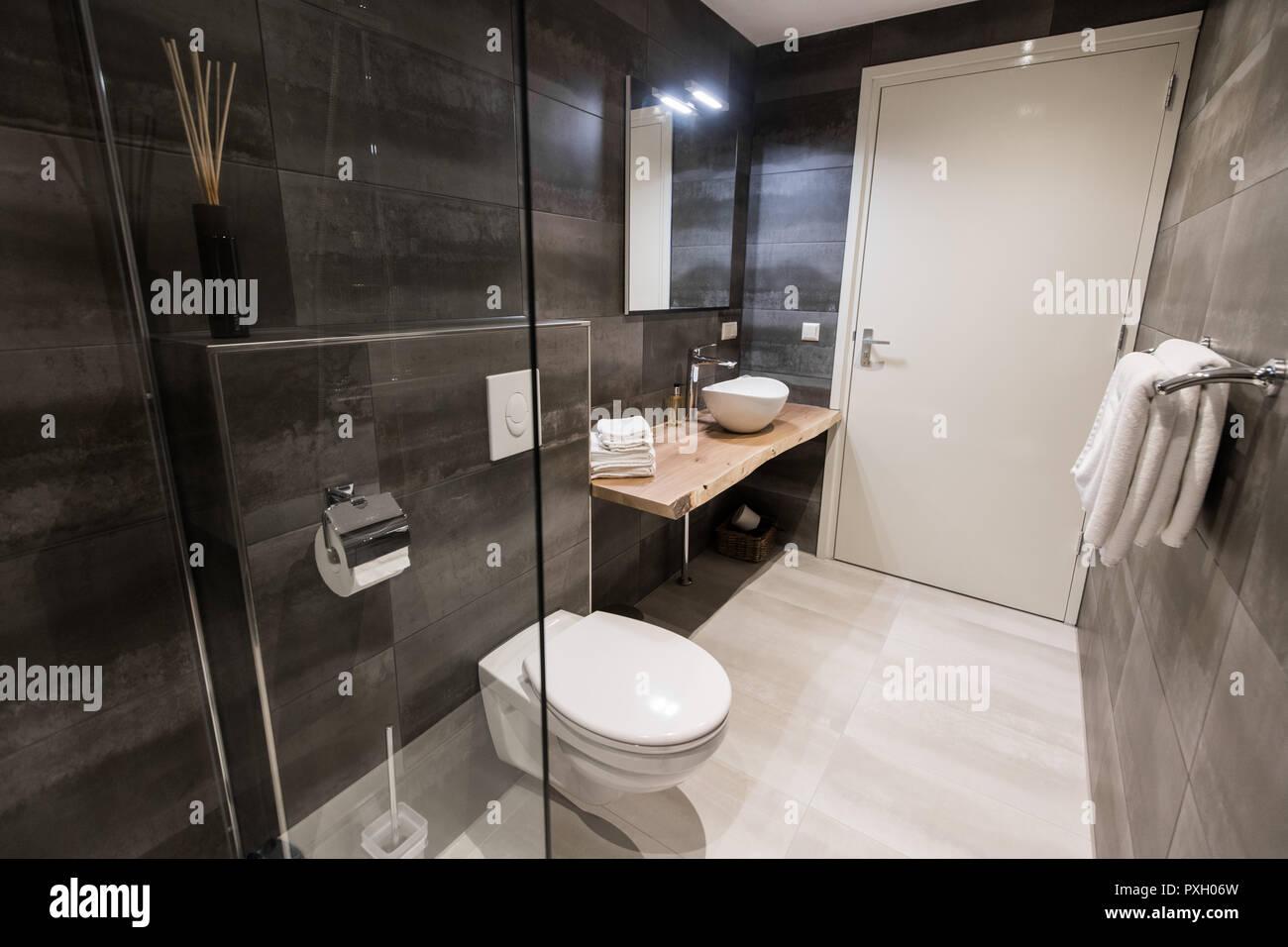 Modern Bathroom With A Shower Area And Bath Tub Including A Wall