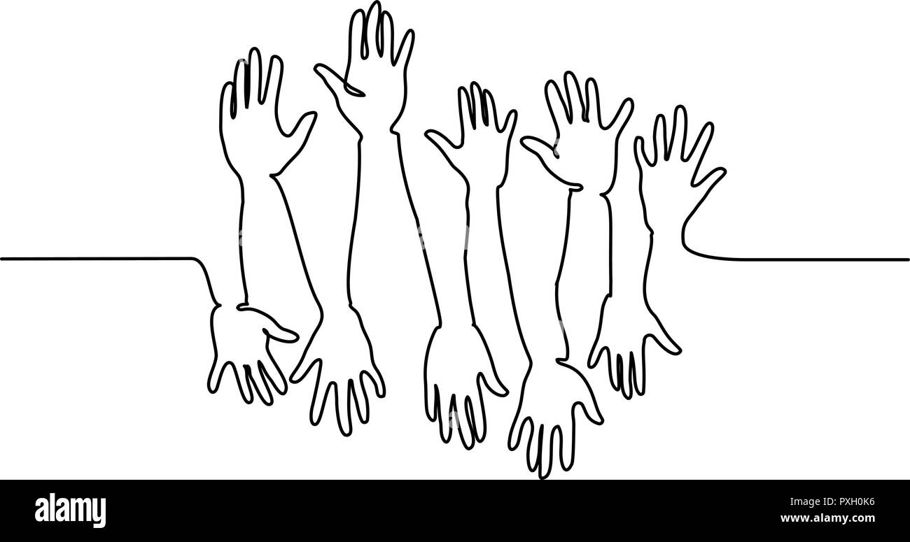 Continuous one line drawing. Abstract Hands Up. Vector illustration - Stock Image