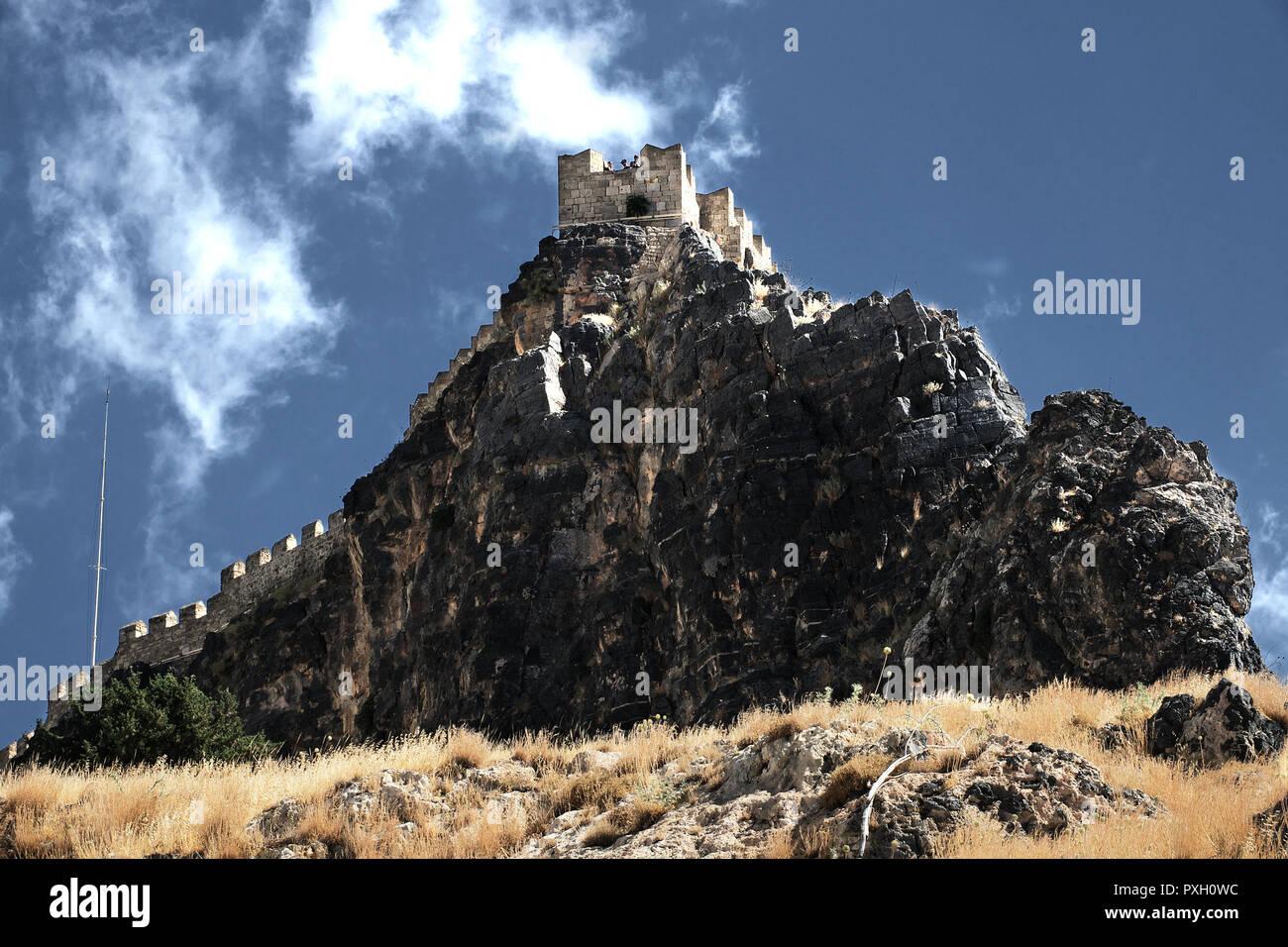 Burg auf Felsen in Griechenland, Greek, Rhodos - Stock Image