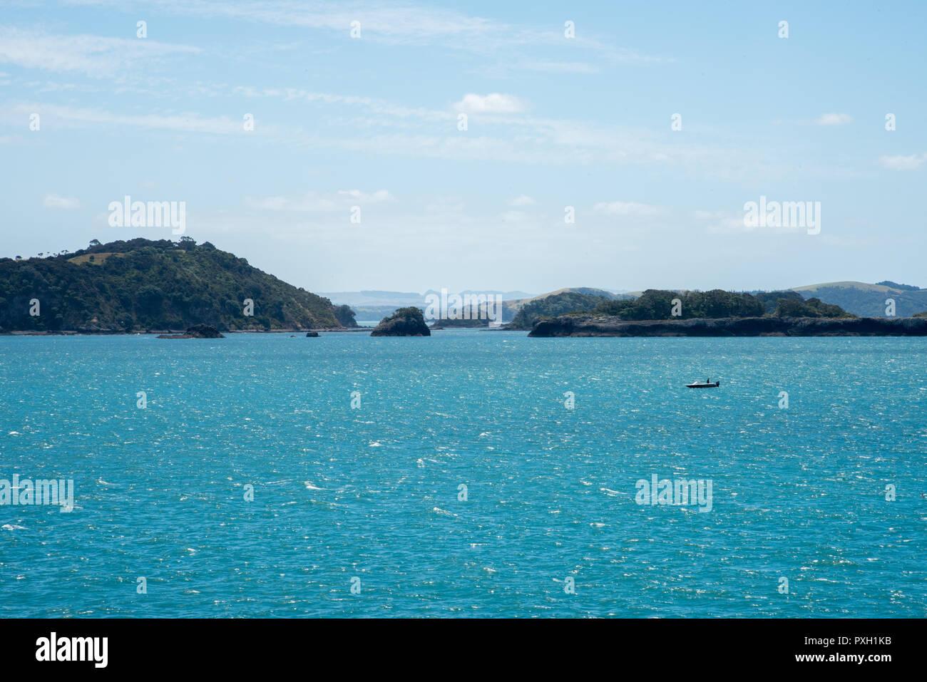 Bay of Islands, North Island, New Zealand-December 18,2016: Nautical vessel in the turquoise Tasman Sea in the Bay of Islands, New Zealand - Stock Image