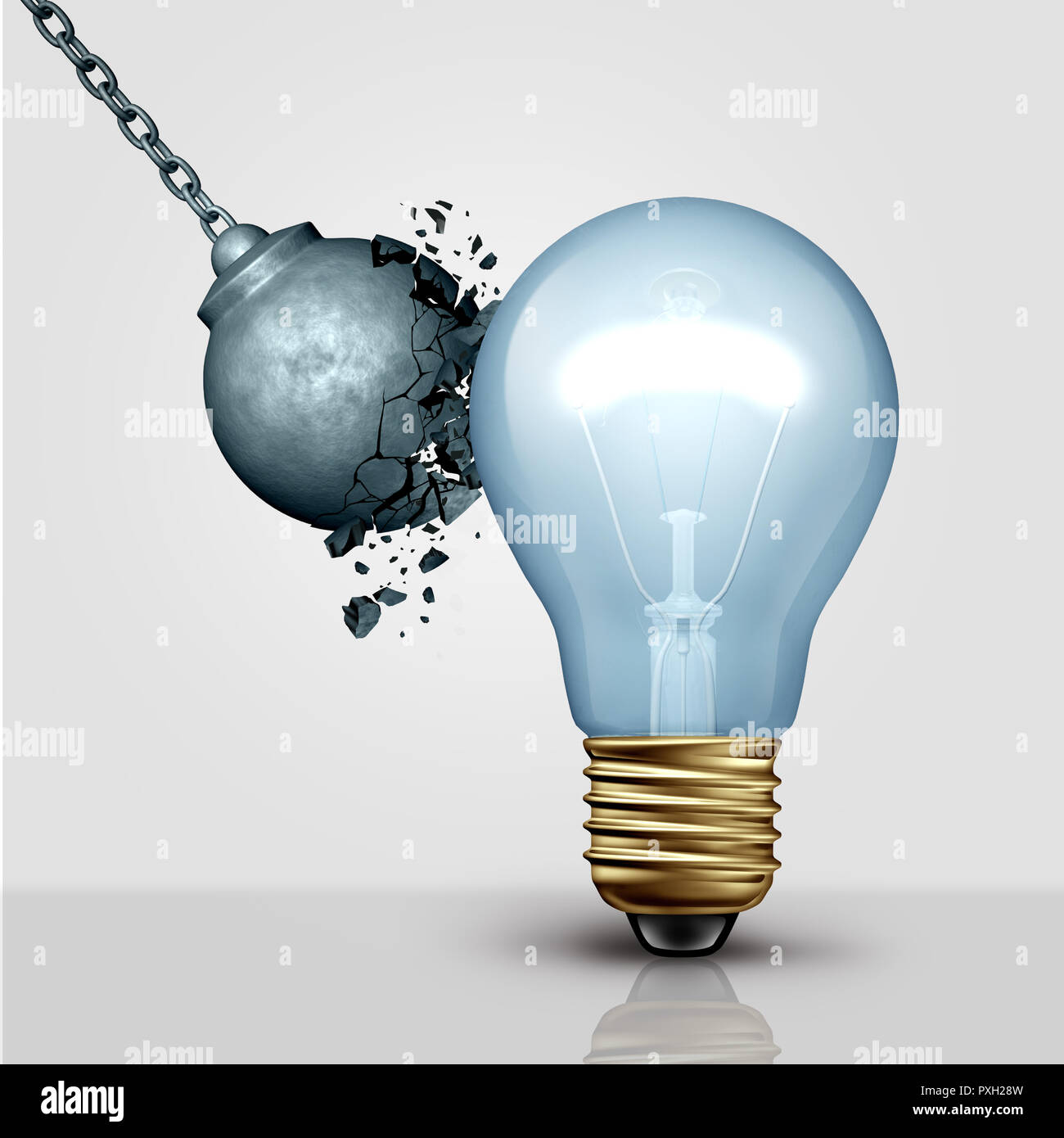 Strong creative idea metaphor and creativity strength as a wrecking ball destroyed by a light bulb as a symbol for great thinking and brainstorming. - Stock Image