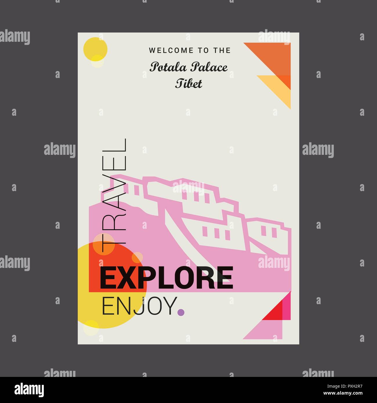 Welcome to The Potala Palace, Tibet Explore, Travel Enjoy Poster Template - Stock Vector
