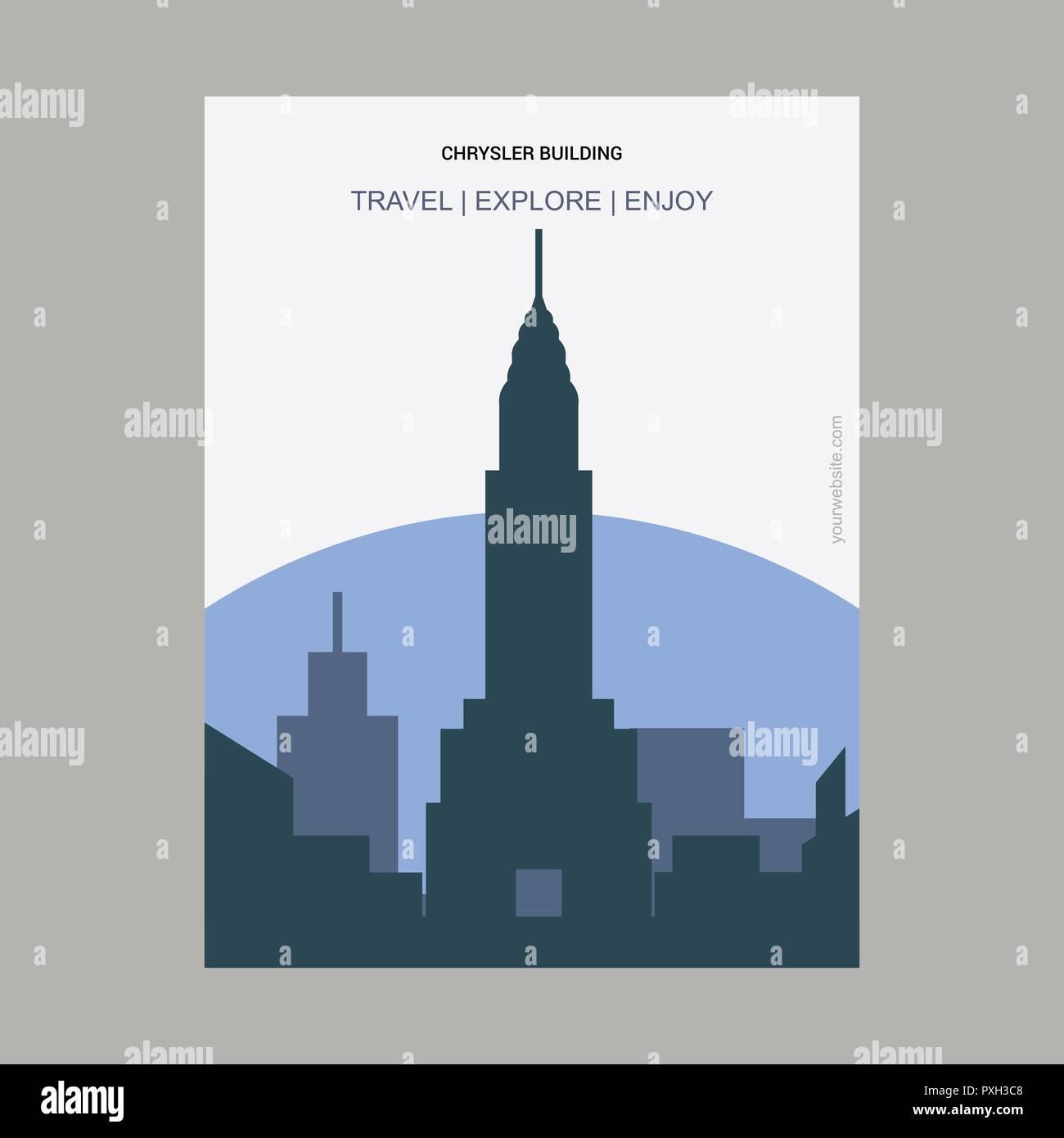 Chrysler Building Manhattan, New York Vintage Style Landmark Poster Template - Stock Vector