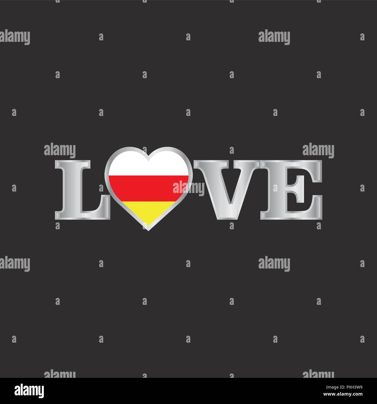 Love typography with South Ossetia flag design vector - Stock Image
