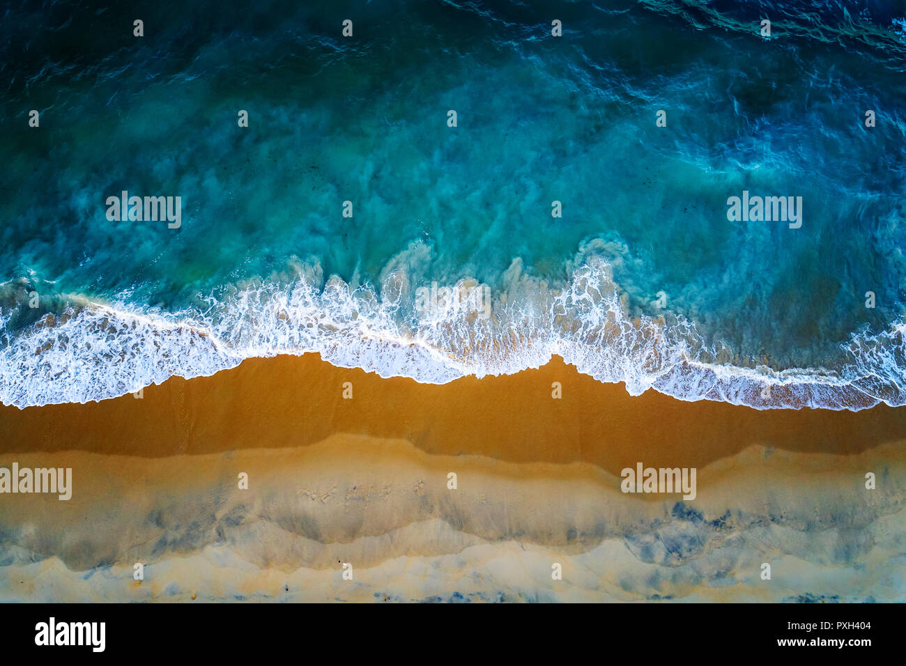 Sea, sand and surf, a drone view of a beach in Northern Sri Lanka - Stock Image